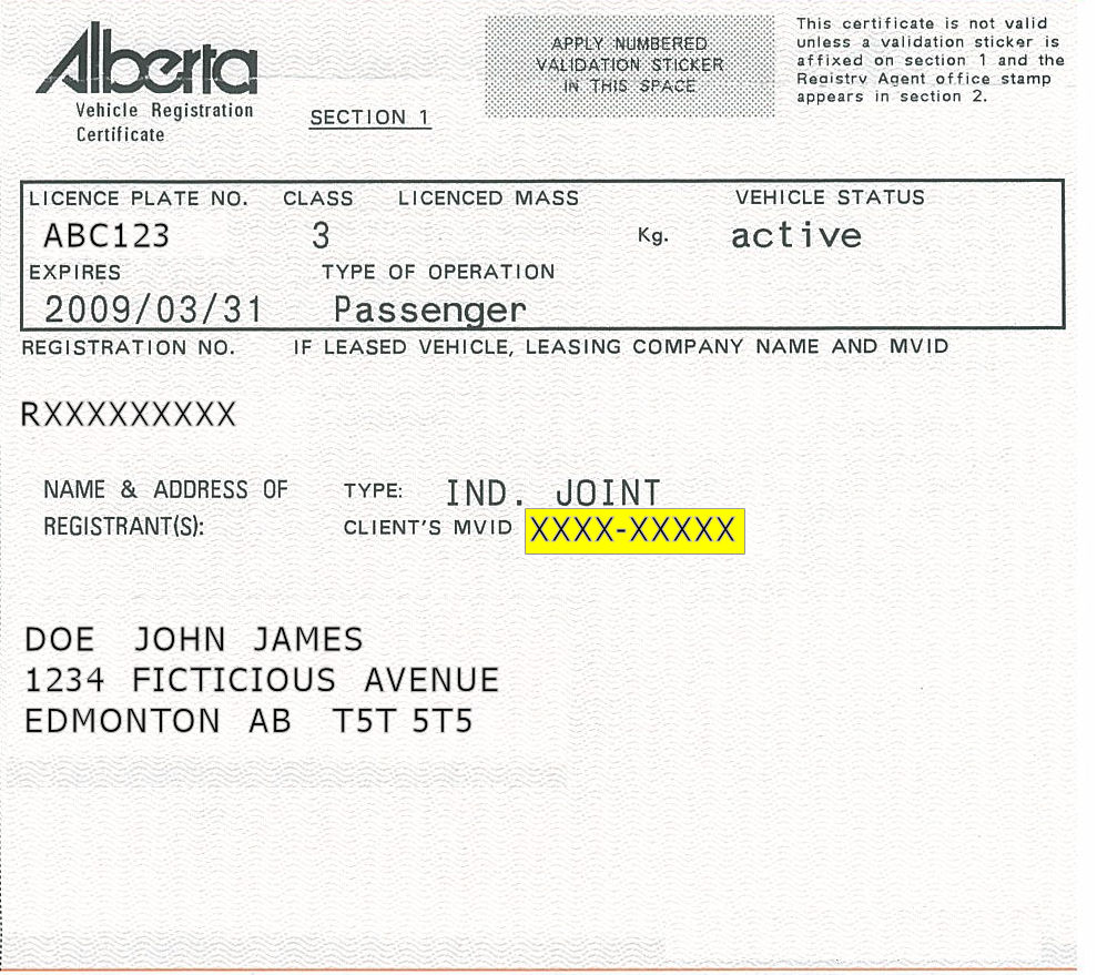 Motor Vehicle Registry Alberta